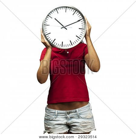 woman holding clock in front of head against a white background