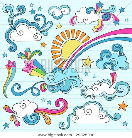 Psychedelic Groovy Clouds, Sun, and Rainbow Notebook Doodle Design Elements Set on Lined Sketchbook Paper Background- Hand Drawn Vector Illustration