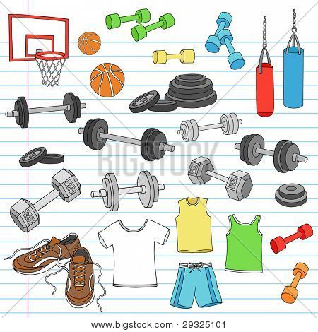 Men's Fitness Workout Sports Apparel and Exercise Equipment Notebook Doodle Design Elements Set on Lined Sketchbook Paper Background- Vector Illustration