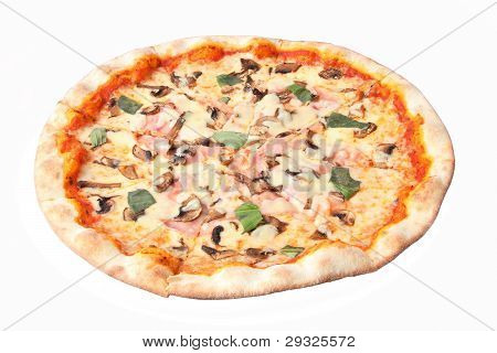 Pizza con setas y jamón