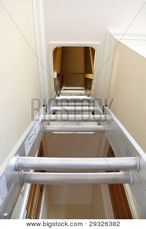 Aluminium step ladder into loft or attic space