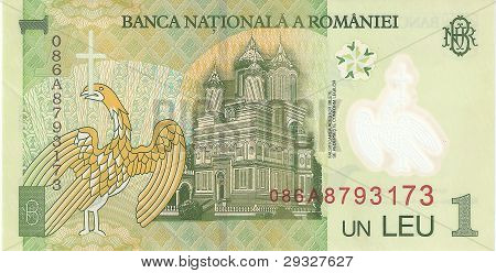 The banknote is a Romanian leu, the sample in 2005, the flip side.