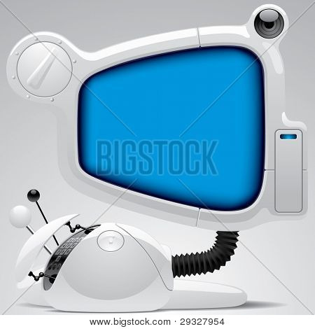 Isolated raster version of vector image of white futuristic electronic gear with big blue display (contain the Clipping Path)