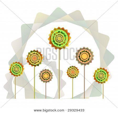 Geometric Orange And Green  Flowers  Background