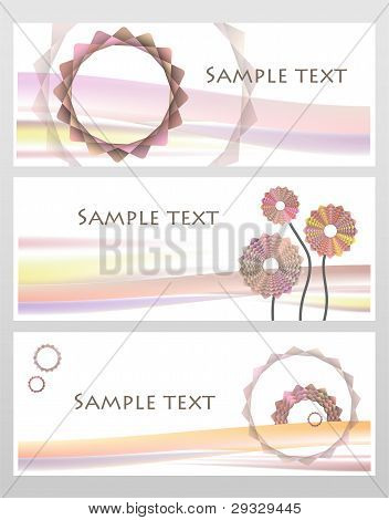 Geometric Pink And Red Pastel  Flowers Business Card Set