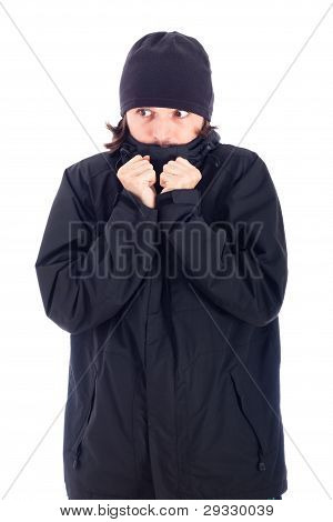 Man Wrapped Up In Winter Jacket Freezing