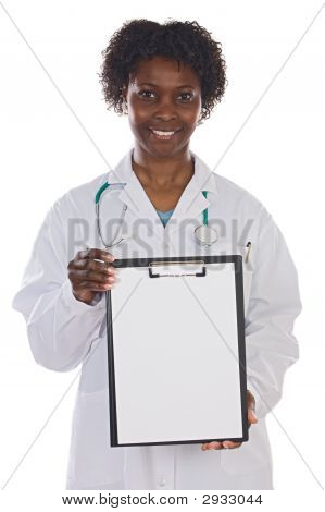 Woman Doctor Whit Clipboard