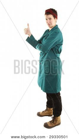 Housewife or domestic worker is showing thumb up sign