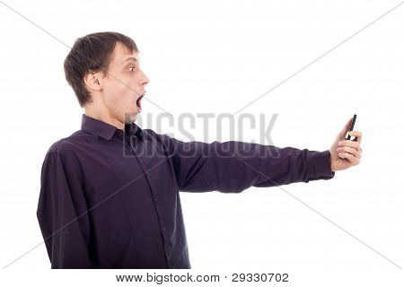Shocked Weirdo Man Looking At Cellphone