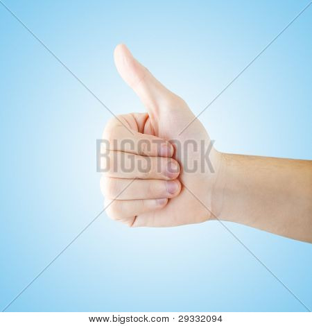 Thumb Up Gesturing Isolated With Clipping Path
