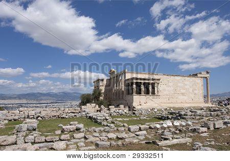 ATHENS APRIL 22 - 2011. The Porch of the Caryatids, Erechtheum, Acropolis of Athens, Greece