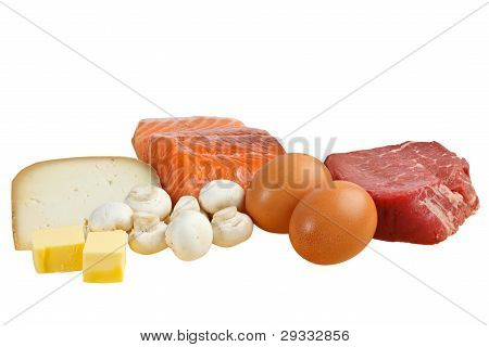 Food sources of vitamin D, including fish, meat, eggs, dairy and mushrooms.