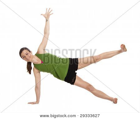 woman doing yoga, plank position, with clipping path