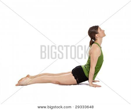 woman doing yoga, upward dog position, clipping path included