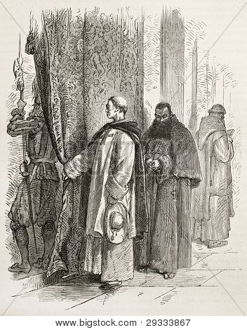 Dominican and Capuchin friars in Vatican city. Created by Neuville after Ulmann, published on Le Tour du Monde, Paris, 1867