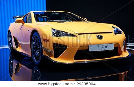 GENEVA - MARCH 8: The Lexus(Toyota) LFA  on display at the 81st International Motor Show Palexpo-Geneva on March 8; 2011  in Geneva, Switzerland.