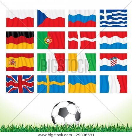 Collection of National Waving Flags for European Football Championship 2012
