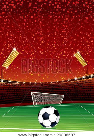Football Background with Large Soccer Stadium. Illustration with Space for your Text