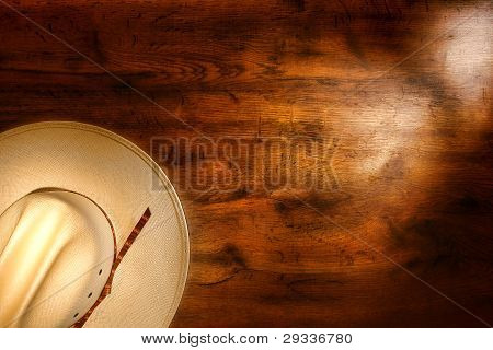 American West Rodeo Cowboy Hat On Old Grunge Wood