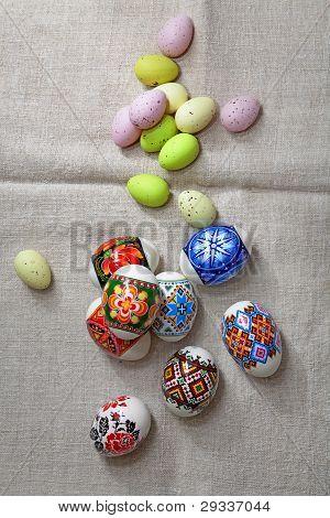 Easter Eggs On Linen Fabric