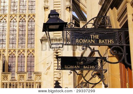 Iron signs for the Roman Baths of Bath