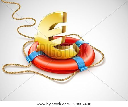 Life buoy rescue ring helps euro currency sign. Financial crisis concept. Vector illustration. EPS10. Gradient mesh used. Transparent objects used for shadows and lights drawing