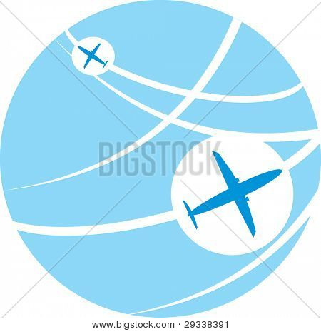 Vector image of white silhouettes of jet airplanes