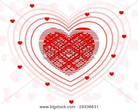 A fusion of decorative red heart shape on seamless pink background for Valentines Day and other occasions.