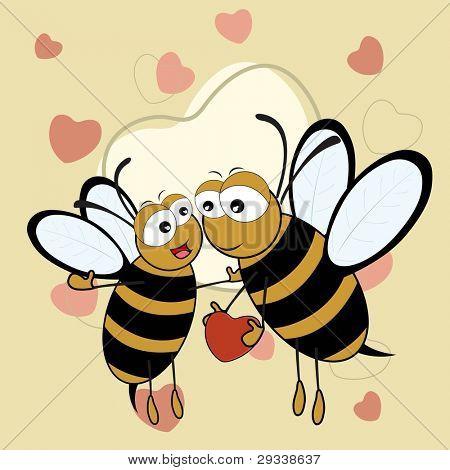 Cute bee couple holding a heart in on brown color seamless heart shape background with copy space for Valentines Day and other occasions.