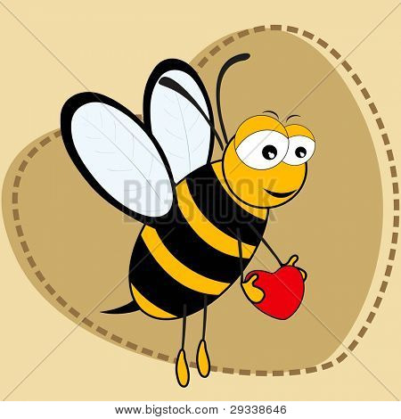 Cute bee holding a hear tin on brown color heart shape background with copy space for Valentines Day and other occasions.