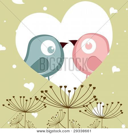 vector illustration of love birds in heart shape on decorative background, greeting card for Valentines Day and other occasions.