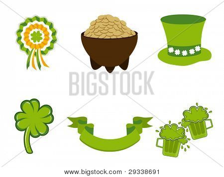 Saint Patrick's Day symbols vector set isolated on white for St. Patrick's Day.