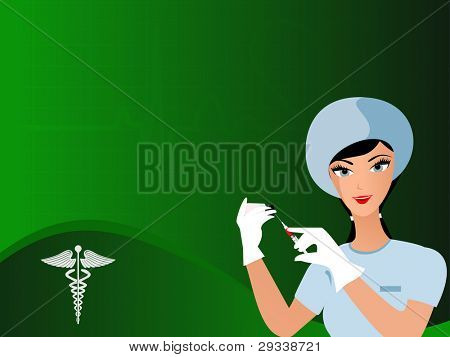 vector seamless heart beat green color background with uniformed nurse having needle in hand