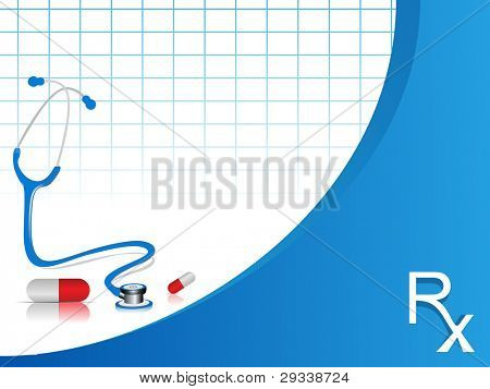 vector stethoscope illustration with pills on blue and white color  background.