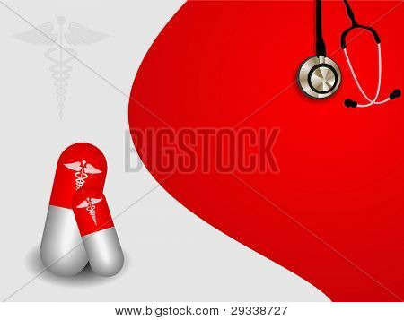 vector seamless medical symbol  on red background with pill and stethoscope.