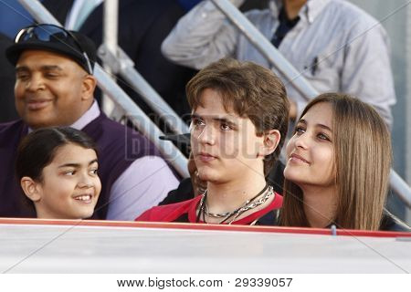 LOS ANGELES - JAN 26: Prince Jackson, Blanket Jackson, Paris Jackson at the hand + footprint ceremony honoring Michael Jackson at Grauman's Chinese Theater on January 26, 2012 in Los Angeles, CA