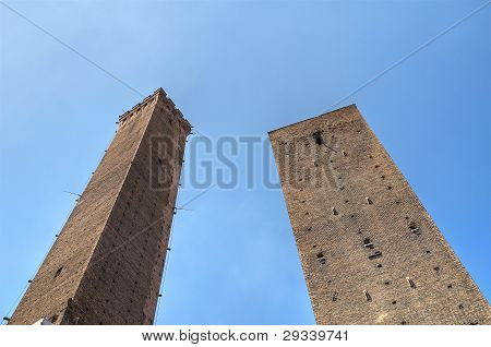 Two leaning towers of Bologna. Emilia-Romagna. Italy.