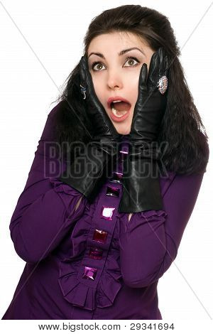 Portrait Of Frightened Young Woman. Isolated On White