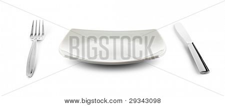 white square plate, knife and fork cutlery isolated with clipping paths included