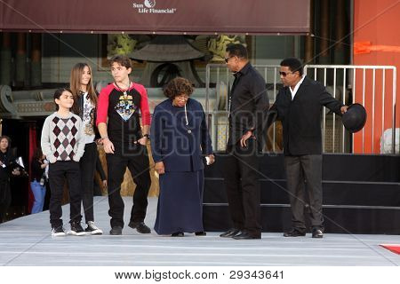 LOS ANGELES - JAN 26:  Blanket, Paris, Prince, Tito, Jackie, Katherine Jackson at the Michael Jackson Immortalized Ceremony at Graumans Chinese Theater on January 26, 2012 in Los Angeles, CA