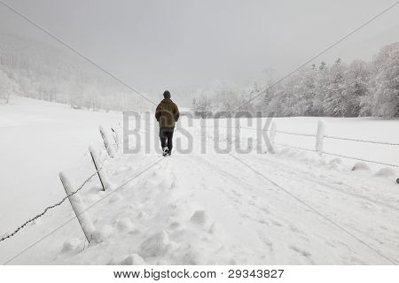 hiking in winter