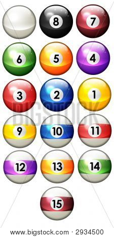 Sixteen Pool Balls Isolated On A White Background (3D Rendering)