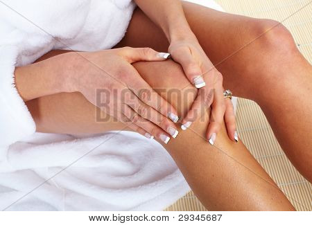Woman having knee pain. Health care.