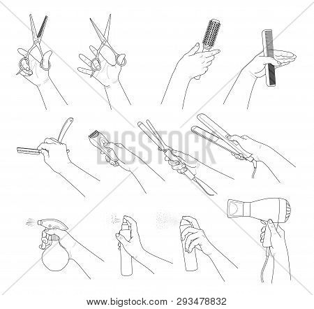 poster of Hand Collection. Hands Holding Hairdresser Tools. Concept Hair Salon, Beauty Salon, Haircut , Stylin