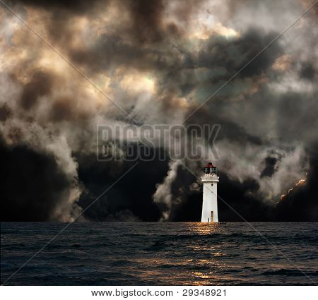 White Lighthouse With Dramatic Storm Clouds