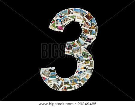 """Shape Of  """"3"""" Figure Made Like Collage Of Travel Photos"""