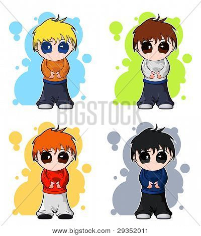 set of vector chibi cute boys