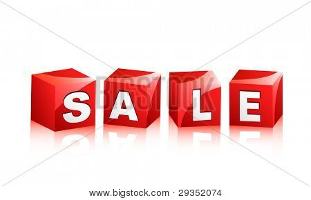 sale sign illustration isolated on white with reflection brighter version