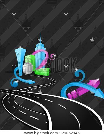 abstract cartoon city artwork