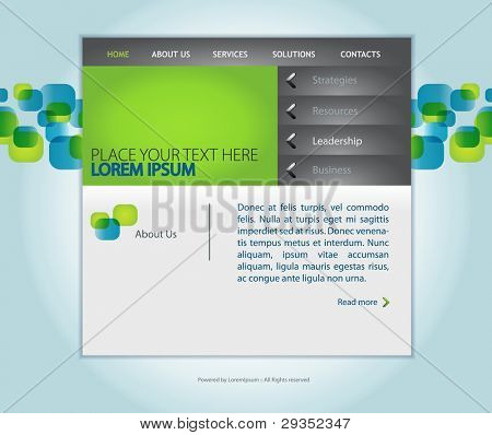 web design vector template with sample text for small business companies